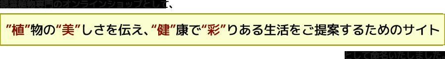 """""""植""""物の""""美""""しさを伝え、""""健""""康で""""彩""""りある生活をご提案するためのサイト"""""""