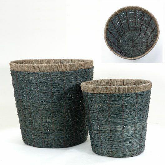観葉植物用資材 通販 籐製鉢カバー (ディープブルー) 10号鉢用 KB050002